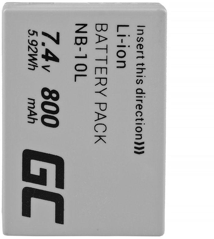 Akumulator Bateria Green Cell  NB-10L do Canon PowerShot G1 X G3 X SX40 HS SX50 HS SX60 HS G15 G16, Full Decoded, 7.4V 800mAh