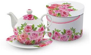 PORCELANOWA FILIŻANKA I CZAJNICZEK DO HERBATY Róże - Merci!