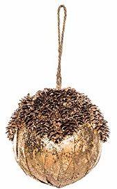 EUROCINSA 28259 zawieszka w kształcie kuli złota z polistyrenu z pomarańczowymi liśćmi i błyszczącymi anananananananananananami 10 Ø cm 8 sztuk, złota, 10 cm