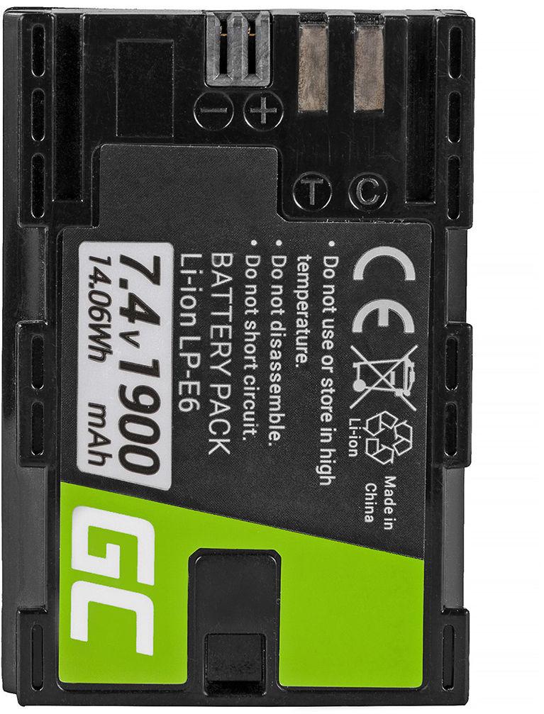 Akumulator Bateria Green Cell  LP-E6 LP-E6N do Canon EOS 5D 6D 7D 60D 60DA Mark II/ III. Full Decoded 7.4V 1900mAh