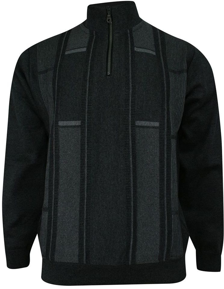 Sweter Popielaty, z Wysoką Stójką, Góra Zapinana na Zamek, Wzór Geometryczny, Męski SWKNGS542526melange