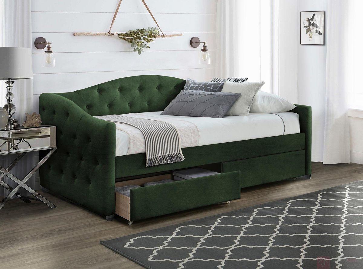 KUPON 10% NA STRONIE  Łóżko tapicerowane ALOHA Halmar 90x200 cm, Butelkowa zieleń [Wysyłka 2022-03-16]