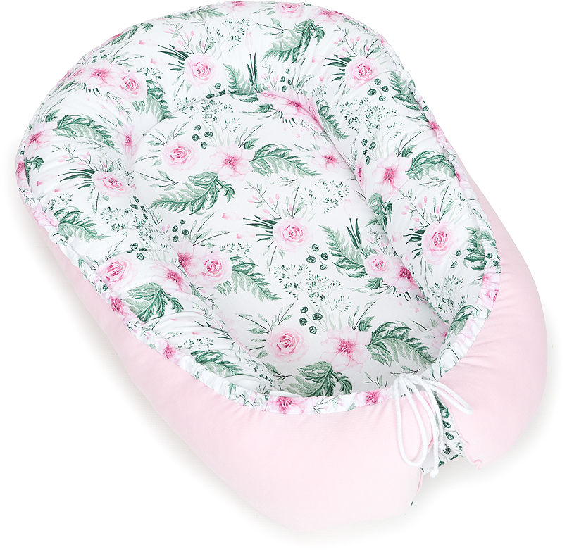 MAMO-TATO Kokon niemowlęcy VELVET - Różany ogród / róż