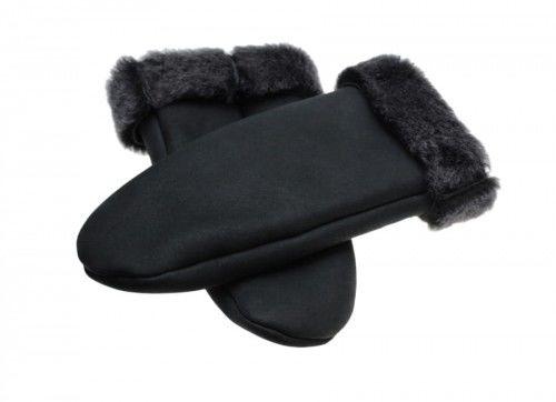 Ciepłe futrzane rękawiczki jednopalczaste łapki - czarne
