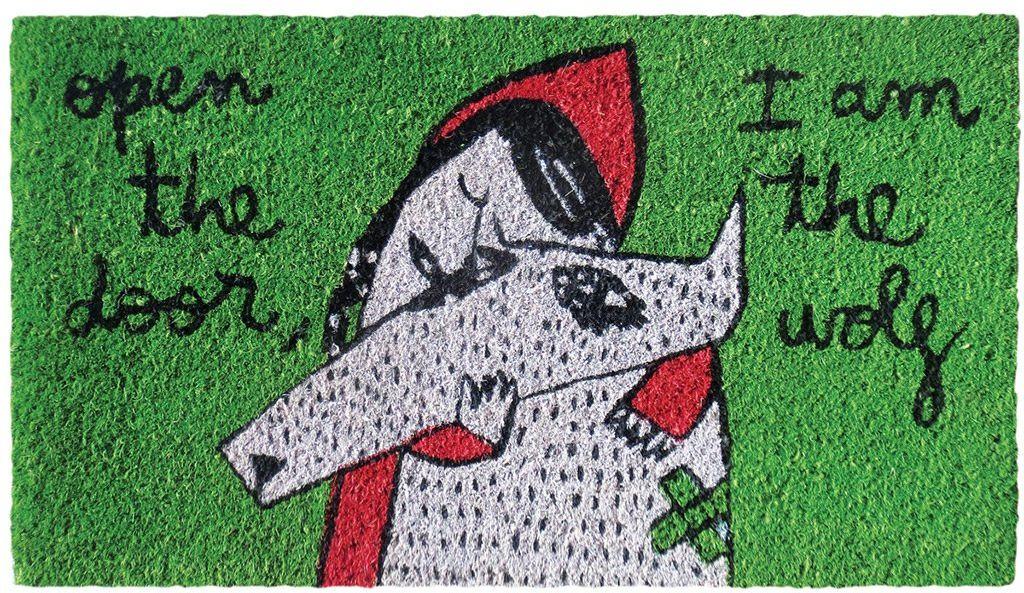 LAROOM 13689  wycieraczka Open The Door, I AM THE WOLF, zielona