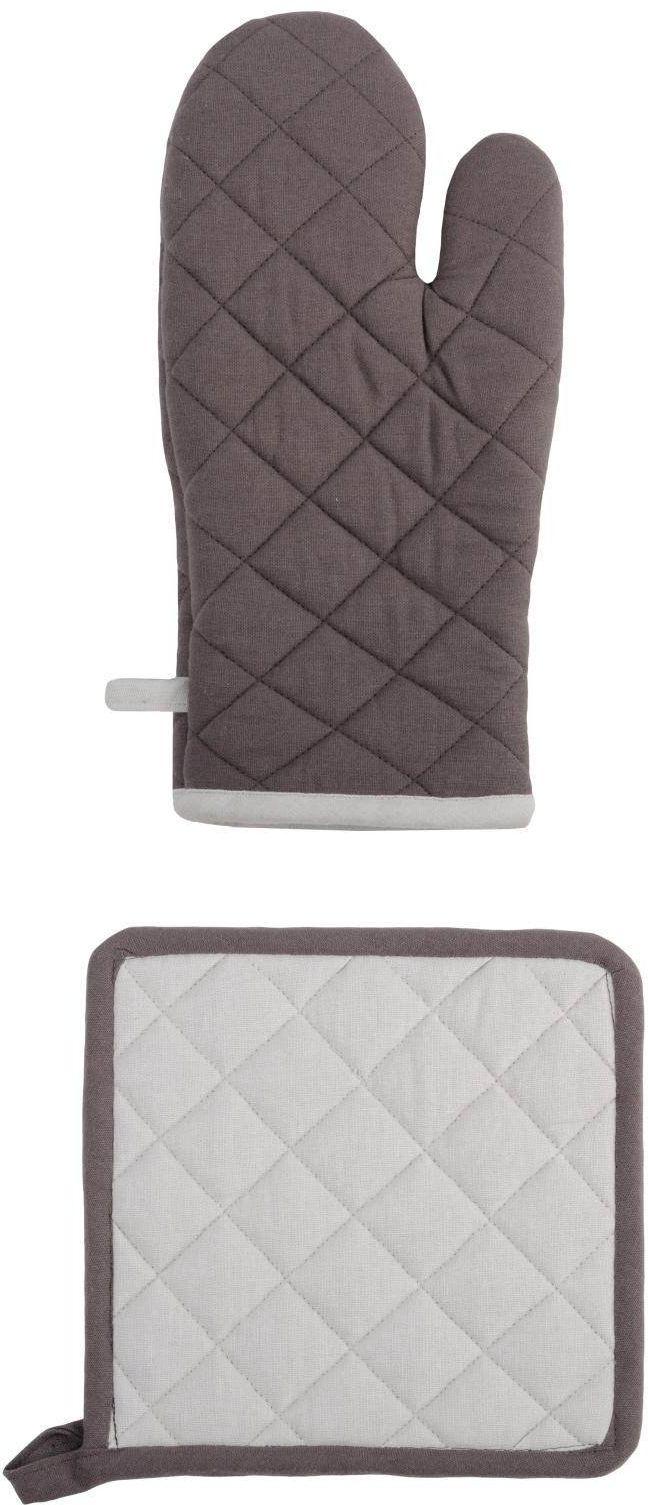 Lovely Casa cu1490056/zestaw dwóch rękawiczek/łapek do garnków bawełna szary/perła 21 x 35