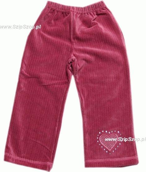 Spodnie dziewczęce welurowe zgaszony róż z serduszkiem