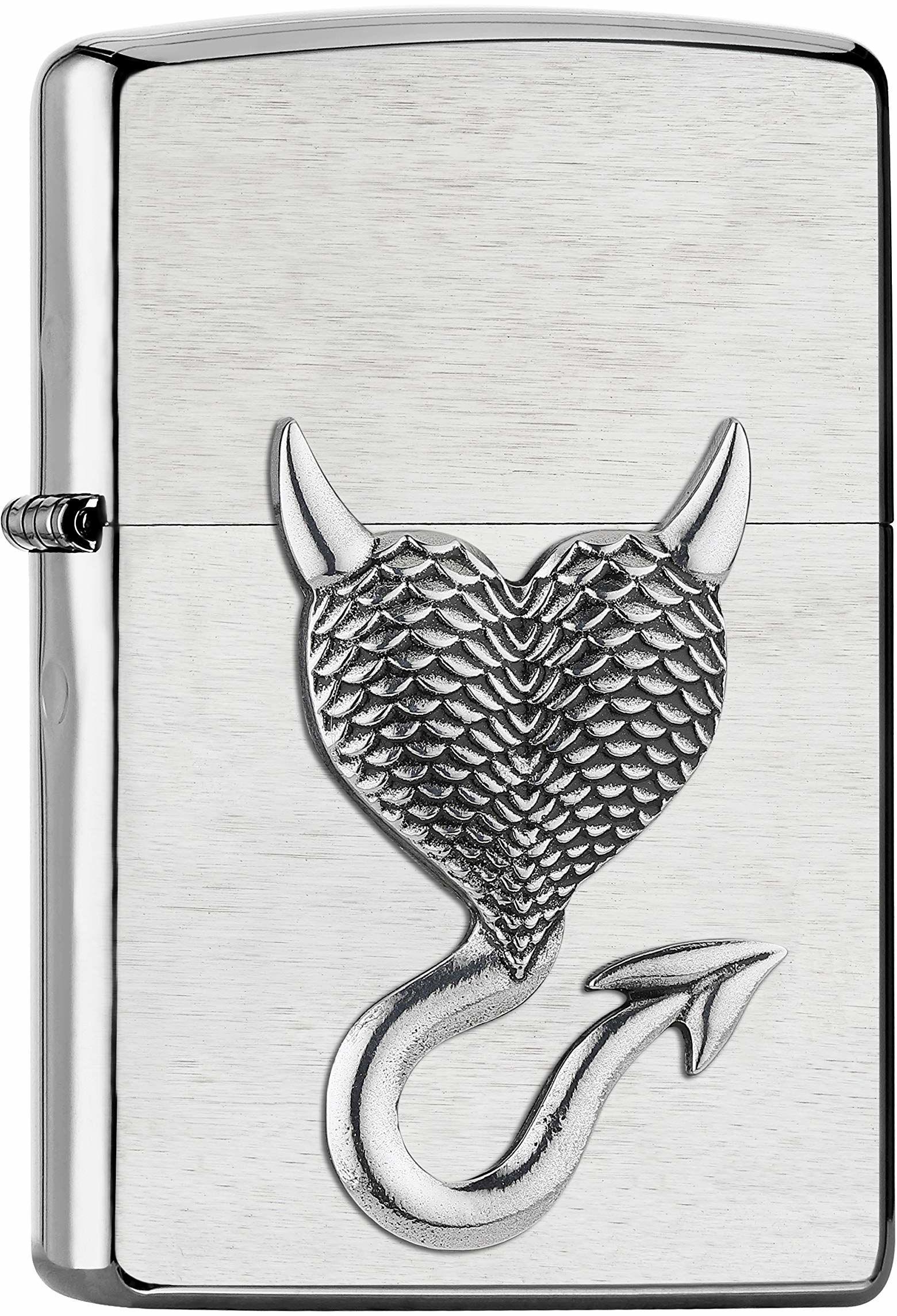 Zippo Devil Heart Emblemat chromowany, szczotkowany  zapalniczka sztormowa do wielokrotnego napełniania, w wysokiej jakości pudełku na prezent, srebrny, 2007136