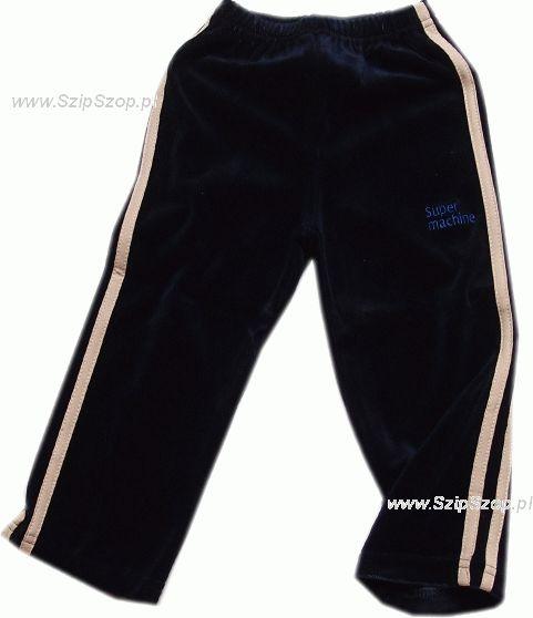 Spodnie dresowe welurowe dla dzieci z ecru lampasami granat Super Machine