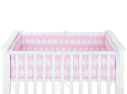 MAMO-TATO Ochraniacz dookoła łóżeczka 60x120 - 360cm - Słoń różowy