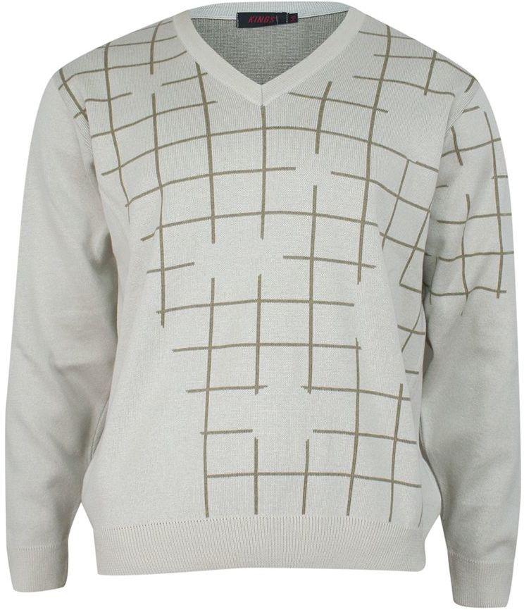 Sweter Beżowy w Serek, w Kratkę, Dekolt V-neck, Elegancki -KINGS- Męski SWKNGS68206ekri