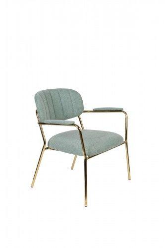 Fotel Jolien Arm złoty/ jasno zielony
