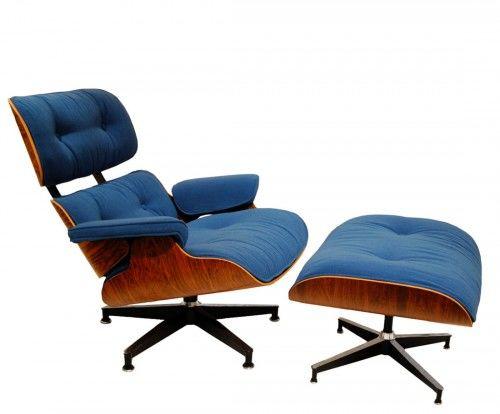 Fotel z podnóżkiem insp. Lounge Chair tkanina wełniana