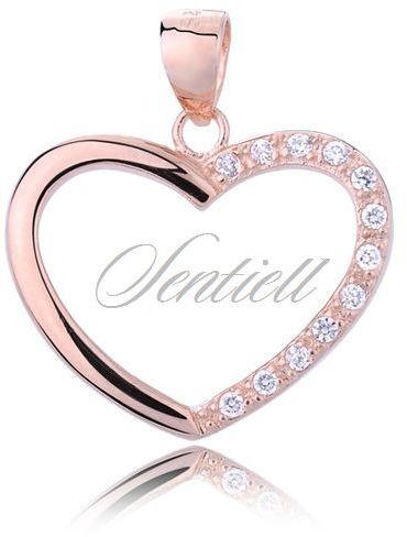 Srebrna zawieszka pr.925 serce z cyrkoniami - złocona różowym złotem