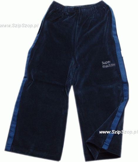 Spodnie dresowe welurowe dla dzieci z granat lampasami grafit Super Machine