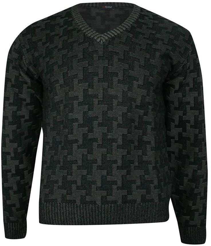 Sweter Czarny w Serek, Wzór Geometryczny, Dekolt V-neck, Elegancki -MAX SHELDON- Męski SWKNGS67706czarny