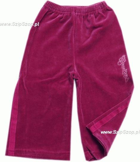 Spodnie dresowe welurowe dla dzieci z lampasami zgaszony róż Biker