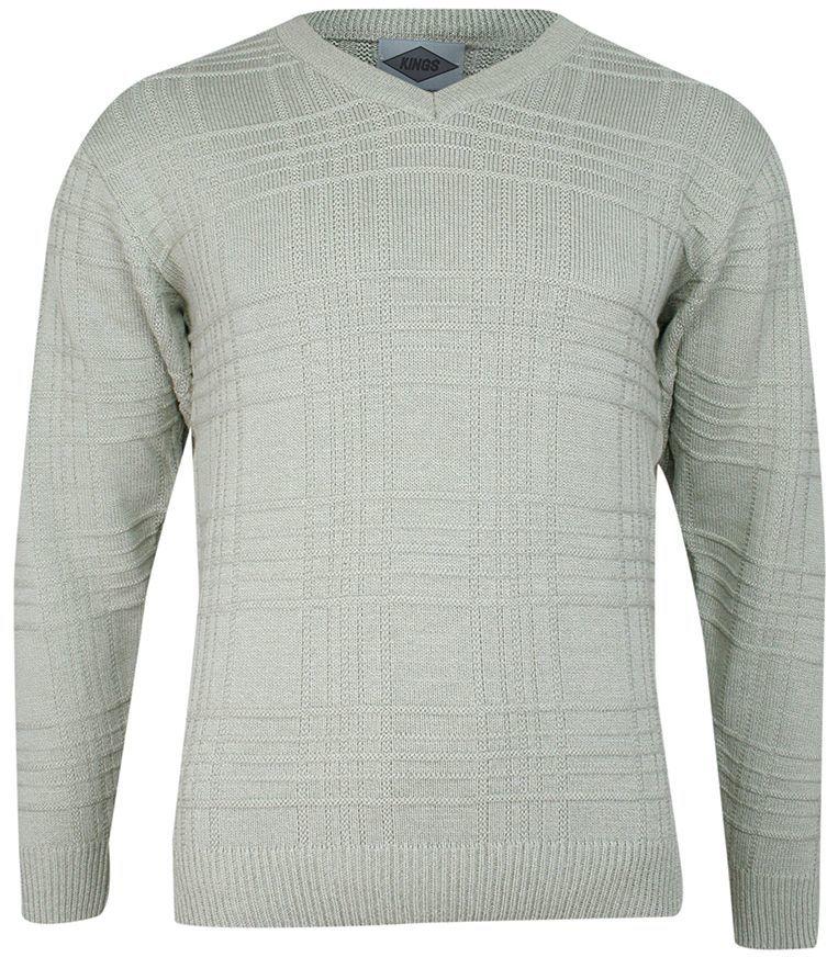Sweter Jasny Beżowy w Serek, Dekolt V-neck, Elegancki -KINGS- Męski SWKNGS62506bezowy