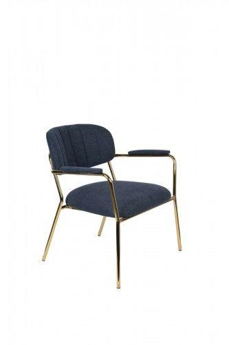 Fotel Jolien Arm złoty/ granatowy