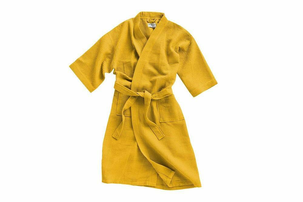 Szlafrok gofrowany musztardowy L/XL bawełniany Kimono Gofer