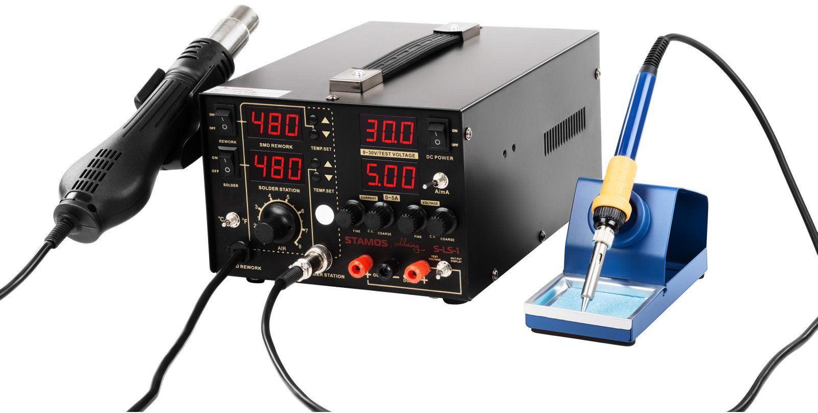 Stacja lutownicza - 75 W - 2 x kolba - zasilacz - 4 x LED - Stamos Soldering - S-LS-1 - 3 lata gwarancji/wysyłka w 24h