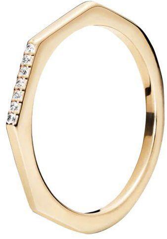 Srebrny pierścionek pozłacany - Cyrkonia