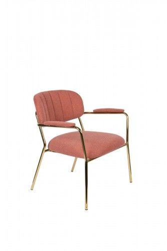 Fotel Jolien Arm złoty/ różowy