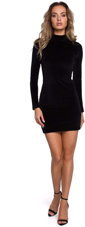 Czarna welurowa dopasowana mini sukienka ze stójką