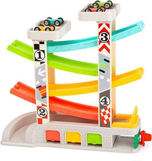 Small Foot 11361 Tor wyścigowy z parkingiem i garażami, zestaw do zabawy z 4 poziomami, czterema samochodami i stacją benzynową, dla dzieci w wieku 3 lat i więcej, wielokolorowy