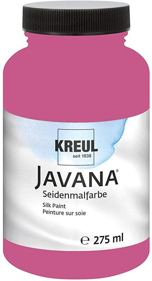 Kreul 8174-275 - Javana farba do malowania jedwabiu 275 ml, magenta, mocno pigmentowana i błyszcząca farba na bazie wody, o płynnym charakterze, wnika głęboko w włókna