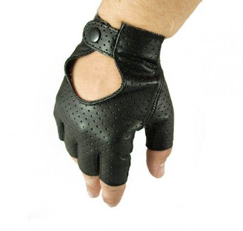 Męskie rękawiczki skórzane bez palców, samochodowe, rowerowe - skóra perforowana