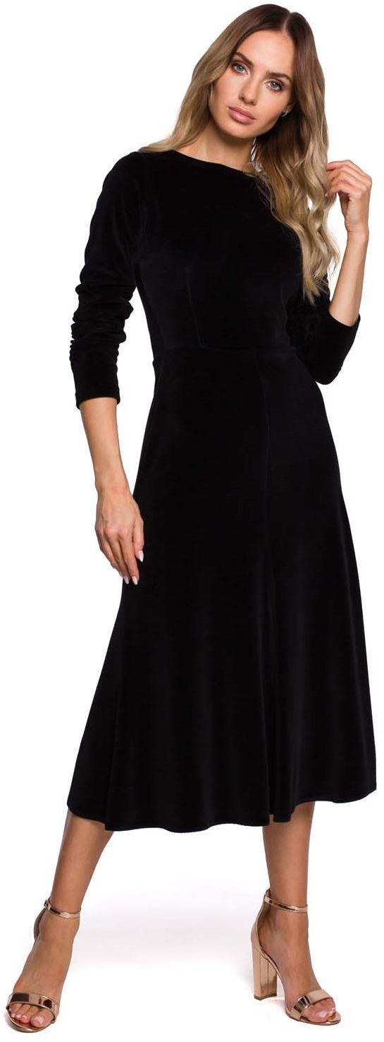 Czarna welurowa sukienka z ozdobnym marszczeniem na rękawach