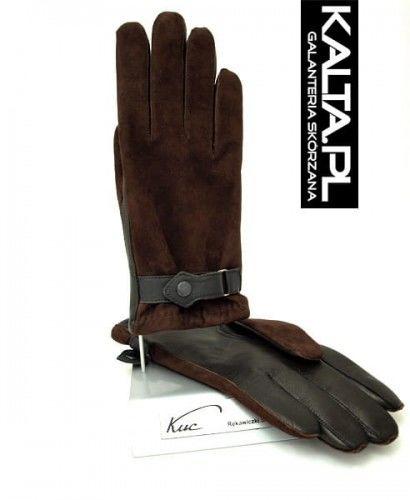 Ciepłe i solidne męskie rękawiczki ocieplane, z paskiem - brązowe