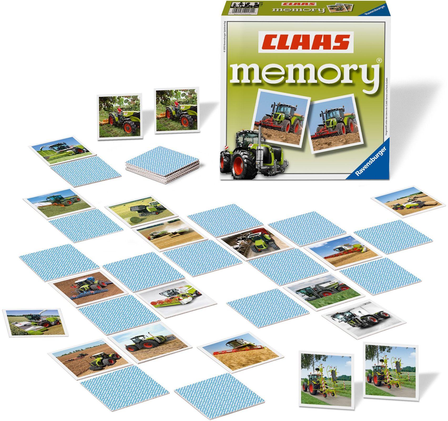 Ravensburger Gry dla dzieci 22171  CLAAS Memory, znana na całym świecie gra pamięci z imponującymi maszynami rolniczymi
