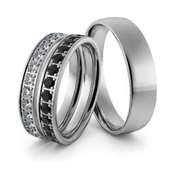 Obrączki srebrne z biało czarnymi cyrkoniami swarovski - zestaw obrączek - wzór Ag-346
