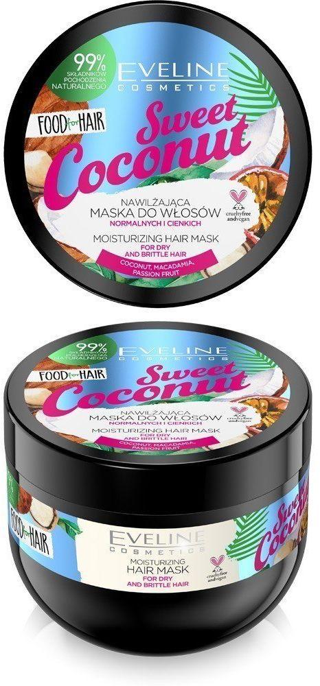 Eveline Eveline Food for Hair Sweet Coconut Maska do włosów normalnych i cienkich - nawilżenie i połysk 500ml
