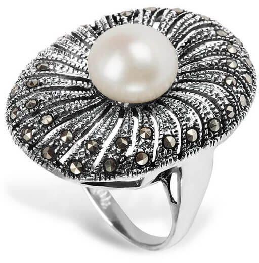 Srebrny pierścionek PDK5347 - Naturalne Perły hodowlane słodkowodne