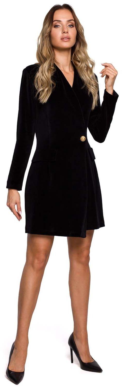 Czarna żakietowa sukienka welurowa