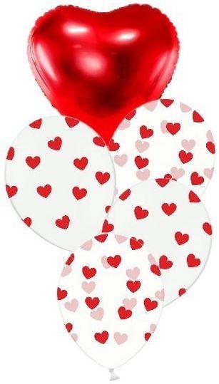 Zestaw balonów na Walentynki słupek bukiet 5 sztuk SL9