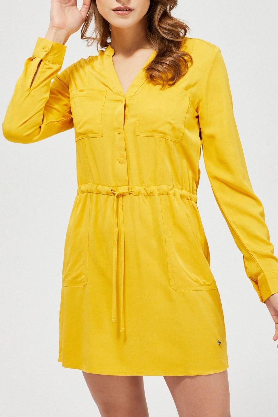 Moodo musztardowa sukienka koszulowa z wiązaniem w pasie - XL