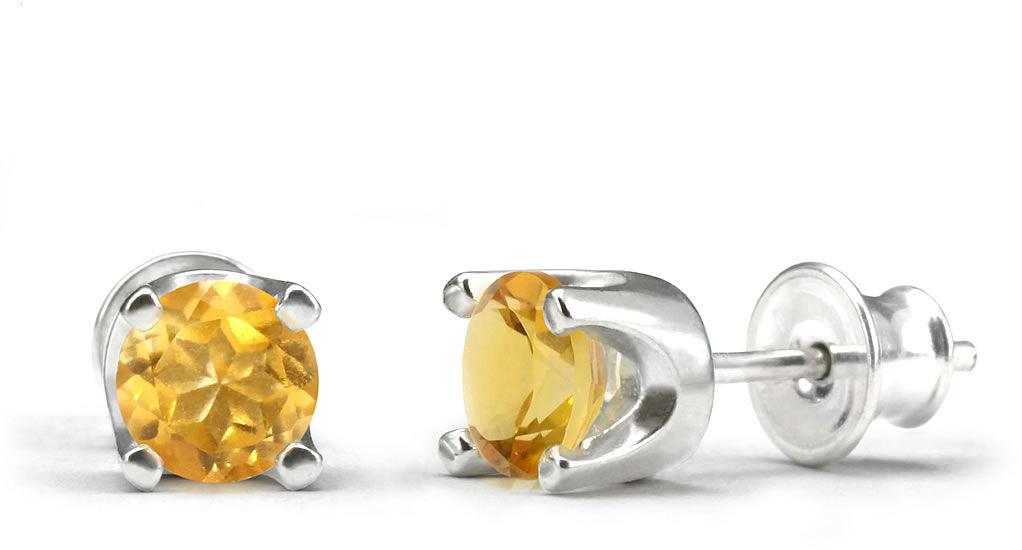 Kuźnia Srebra - Kolczyki srebrne sztyft, 15mm, Cytryn, 2g, model