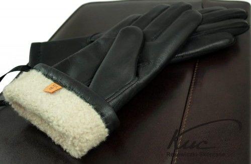 Damskie rękawiczki skórzane ocieplane naturalnym futrem - super ciepłe