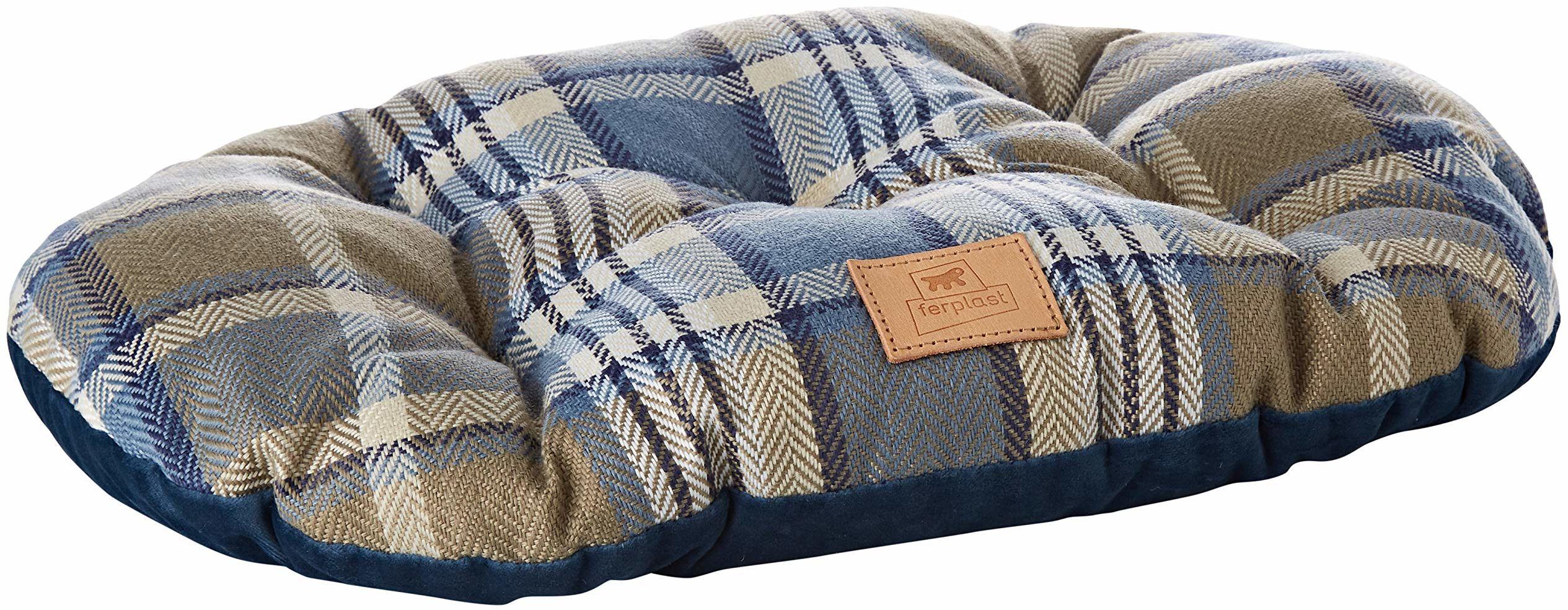 Wyściełana poduszka dla psów i kotów SCOTT 45/2, dwustronna, szkocki wzór, miękki aksamit, nadaje się do prania, kolor niebieski
