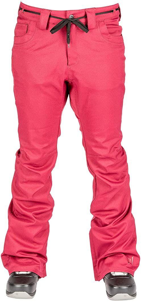 L1 Heartbreaker Twil 20 damskie spodnie snowboardowe, ciepłe, wąskie, rozciągliwe, 2 warstwowe, skinny Fit czerwony Rebel S