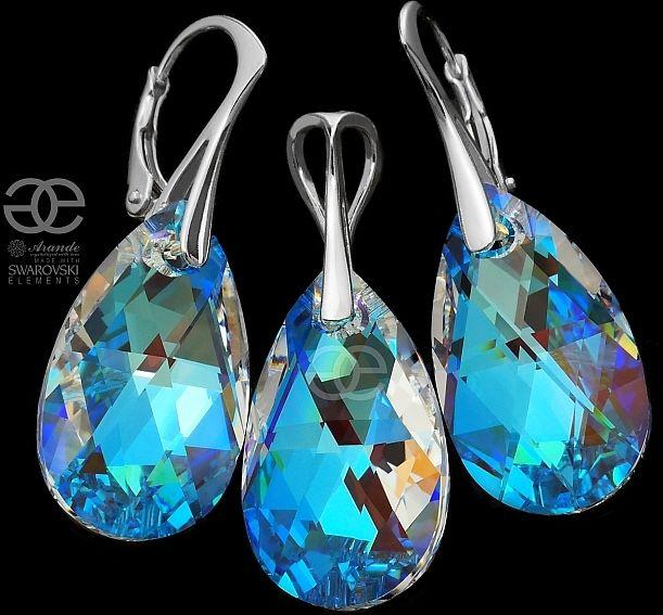 NOWE Kryształy piękny komplet BLUE AURORA SREBRO