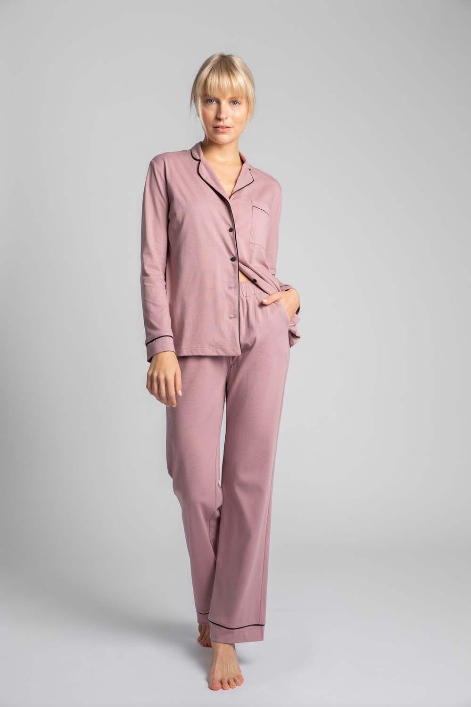 Długie spodnie piżamowe z lamówkami - wrzosowe