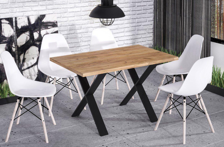Stół X 130(170)x80 dąb craft rozkładany w stylu industrialnym  KUP TERAZ - OTRZYMAJ RABAT