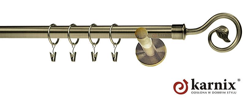 Karnisze nowoczesne NEO pojedynczy 19mm Spiralka antyk mosiądz