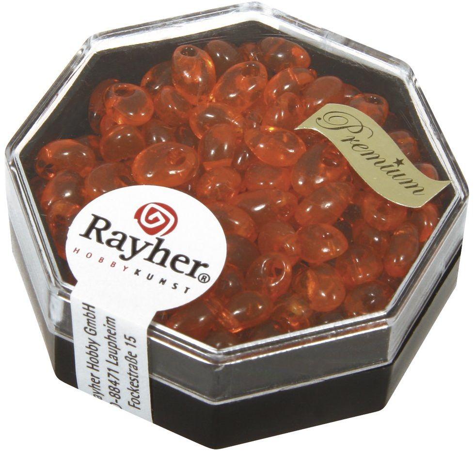 Rayher Koraliki magatama, długowieczne, capri pomarańczowy, 4 x 7 mm