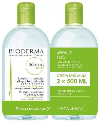 Bioderma Sebium H2O płyn micelarny do skóry mieszanej, tłustej i trądzikowej 2x 500 ml [DWUPAK]